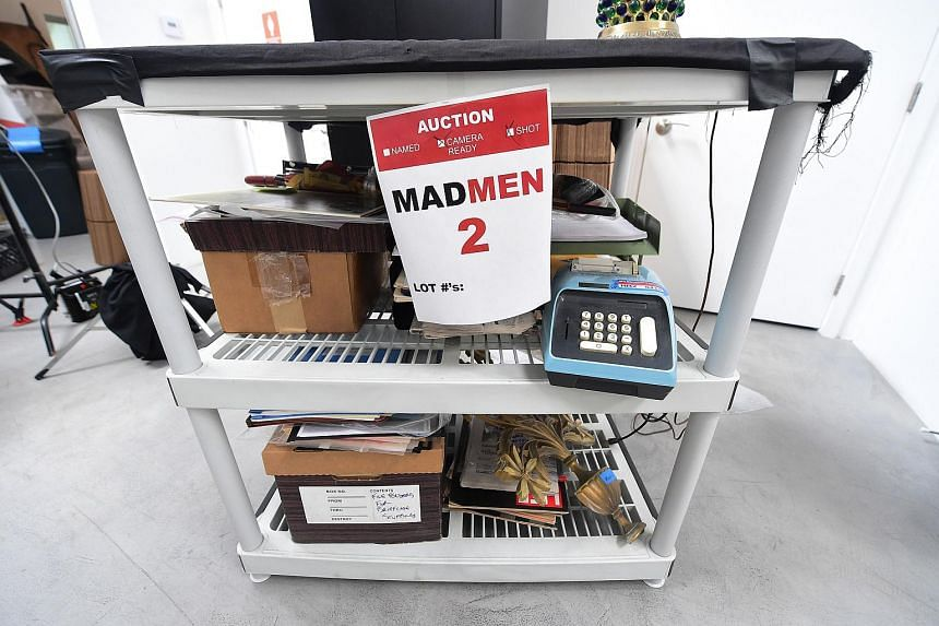 Items from the American drama series Mad Men are displayed at ScreenBid, an online auction house partnering with Hollywood studios to sell collectibles.