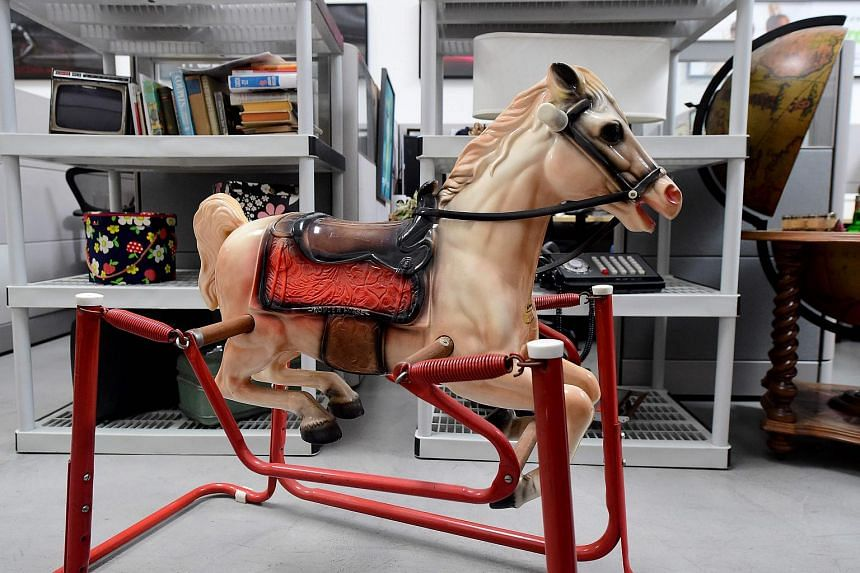 The rocking horse belonging to Joan Harris's son is displayed among items from the American drama series Mad Men at ScreenBid.