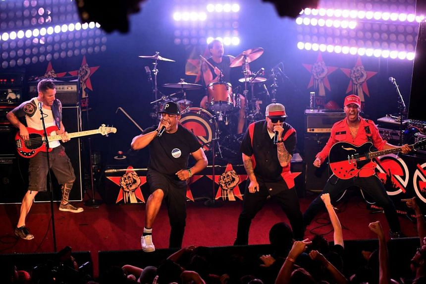 (Left to right) Musicians Tim Commerford, Chuck D, Brad Wilk, B-Real and Tom Morello of Prophets of Rage perform onstage at Whisky a Go Go on May 31, 2016.