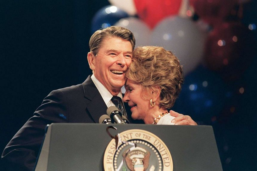 Ronald and Nancy Reagan at a luncheon in New Orleans in 1988.