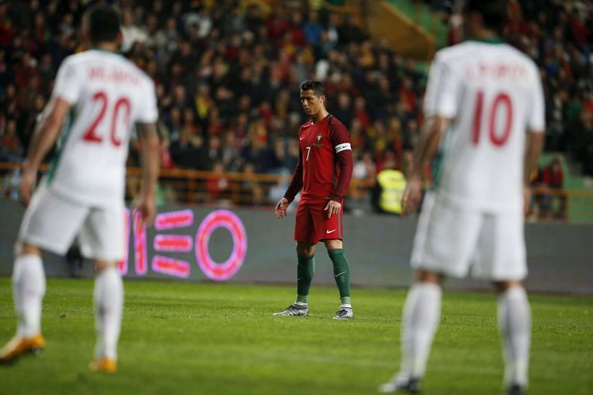 Portugal's Cristiano Ronaldo in action against Bulgaria during an international friendly match.