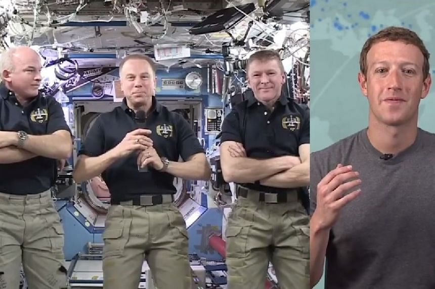 Mark Zuckerberg (right) chatting to the ISS astronauts in a Facebook screenshot.
