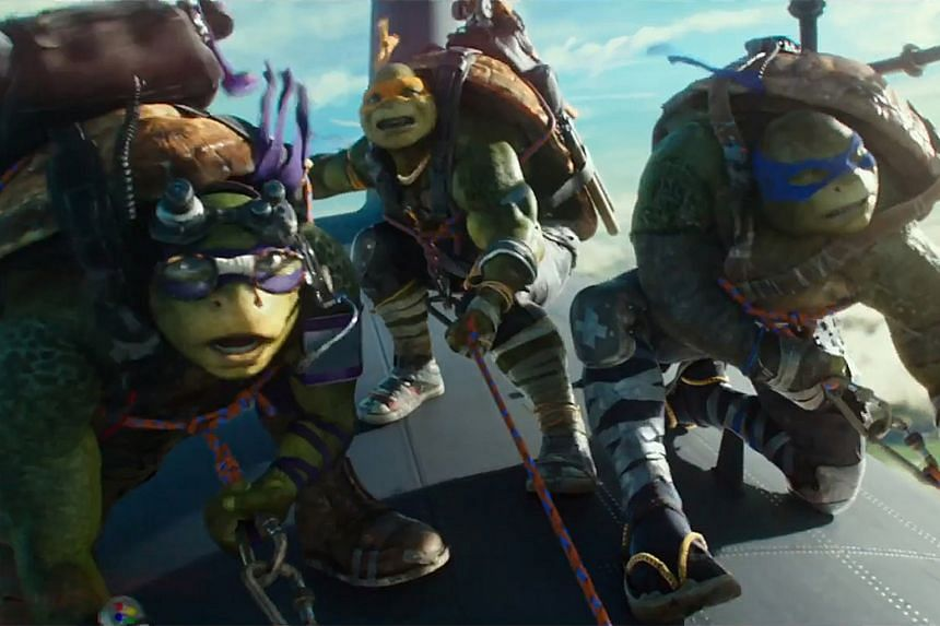 The Turtles (from left Leonardo, Michelangelo and Donatello) are back to save the day.