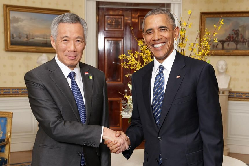 US President Barack Obama (right) with Prime Minister Lee Hsien Loong prior to the Nuclear Security Summit working dinner at the White House in March 2016.