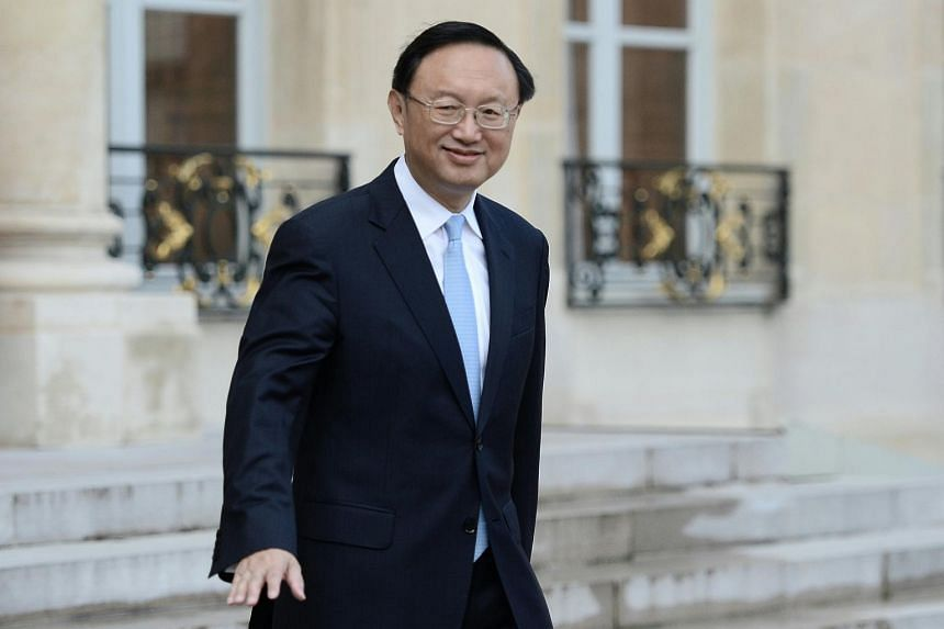 Chinese State Councillor Yang Jiechi seen leaving after a meeting on April 13, 2016, in Paris, France.