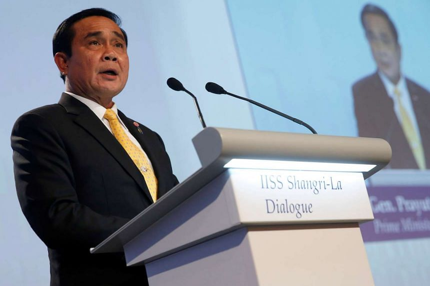 Thai Prime Minister Prayut Chan-o-cha delivers the keynote address at the IISS Shangri-La Dialogue in Singapore on June 3, 2016.