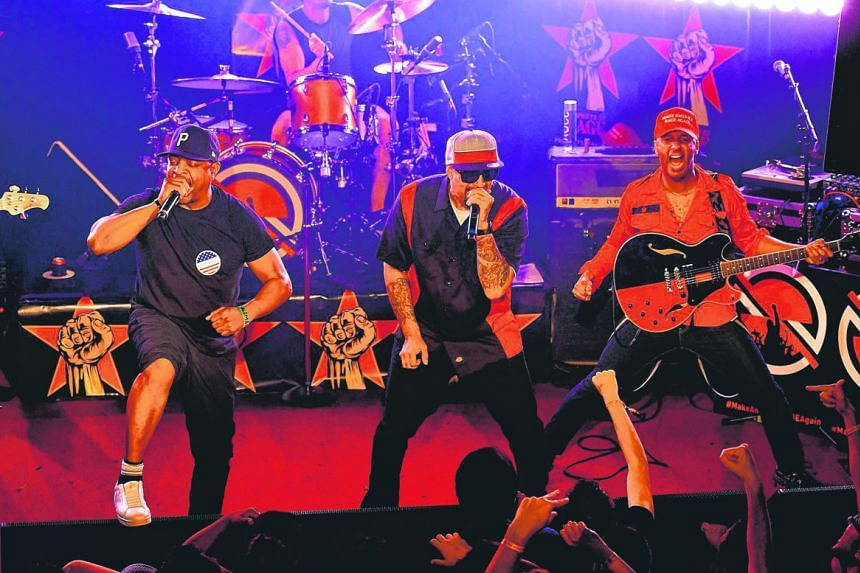 (From left) Chuck D, Brad Wilk, B-Real and Tom Morello performing in California.