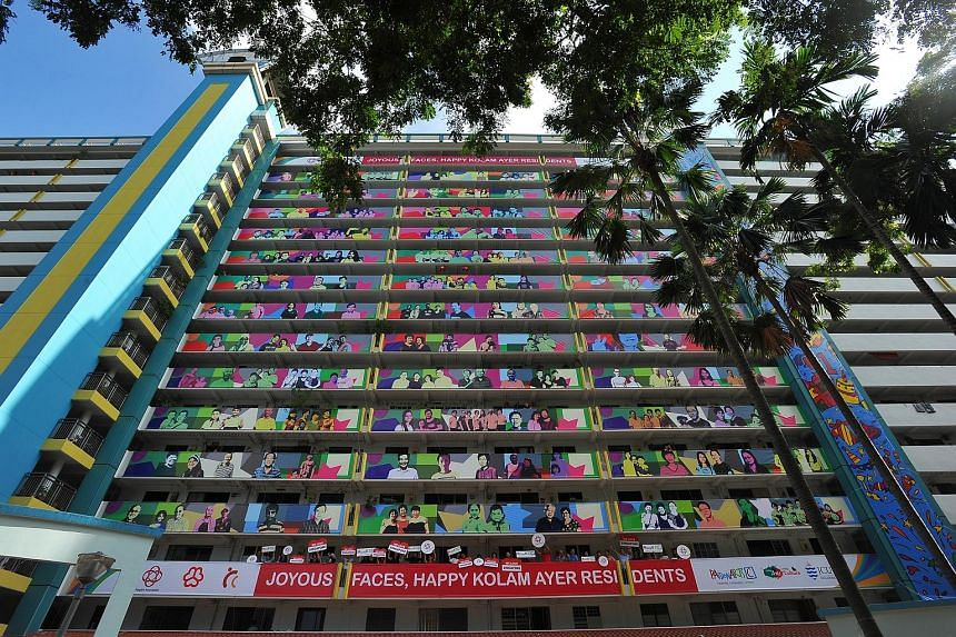 Entitled Joyous Faces, the art installation is about 200m tall and 90m wide. Nearly 1,000 residents from Geylang Bahru contributed to the project, which is part of this year's National Day celebrations.