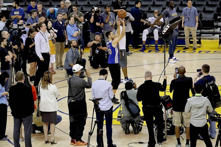 Warriors guard Stephen Curry shooting during practice ahead of the NBA Finals. The two-time Most Valuable Player leads the league with 30.1 points and 2.14 steals a game.
