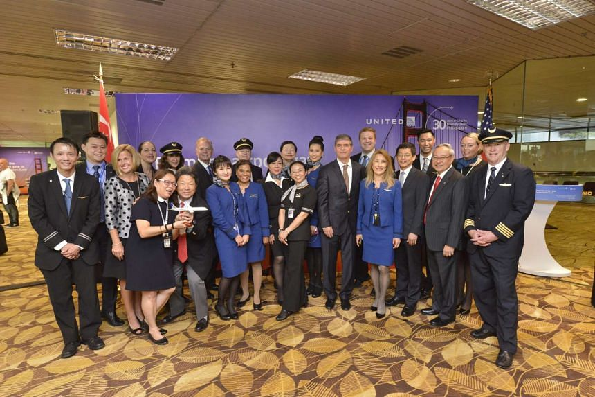 Crew members of the inaugural flight from Singapore to San Francisco, which departed from Changi Airport on Friday (June 3).