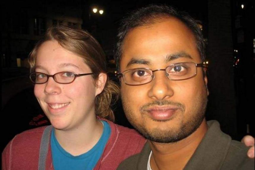 A woman identified in reports (left) as Ashley Hasti is said to have dated shooter Mainak Sarkar (right).