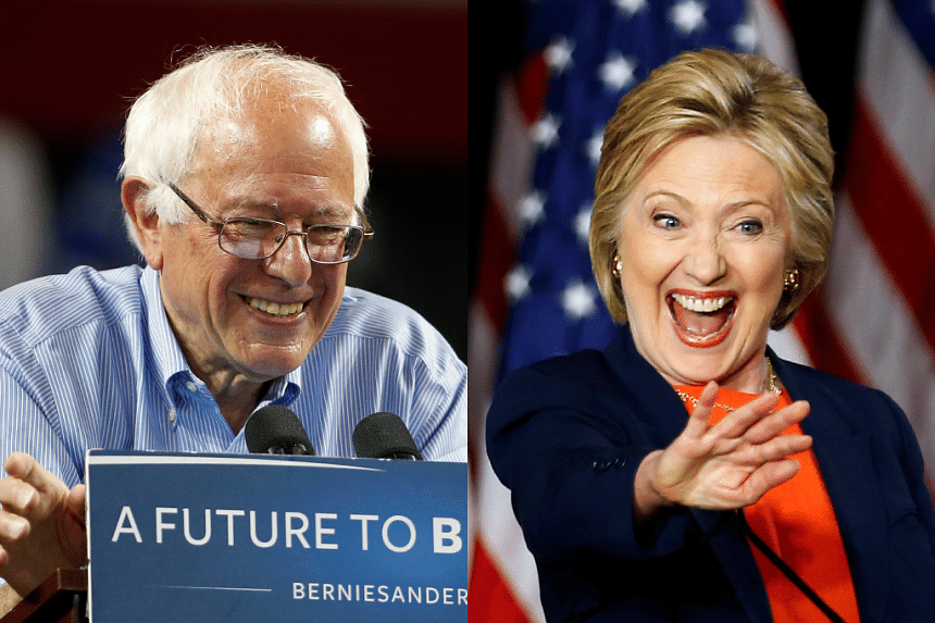 A composite photo of Bernie Sanders and Hillary Clinton.