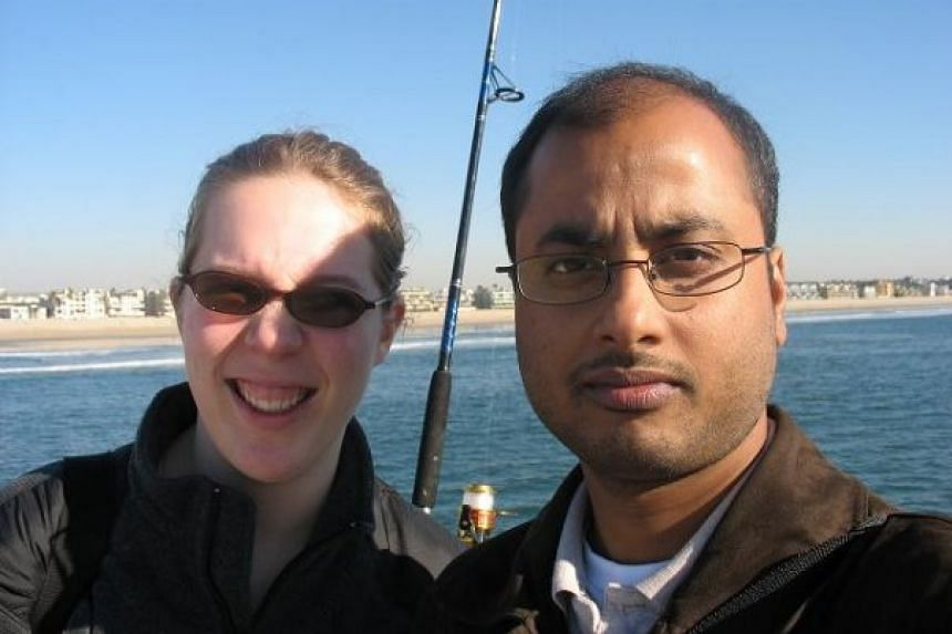 A woman identified in media reports as Ashley Hasti (left) is said to have dated and been shot by UCLA shooter Mainak Sarkar (right).