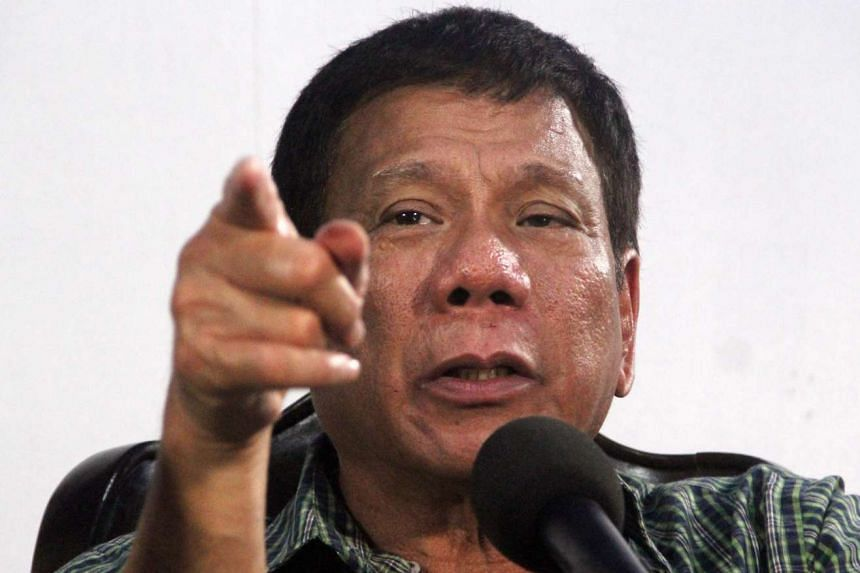 Duterte speaking during a press conference in Davao City, southern Philippines, May 31, 2016.