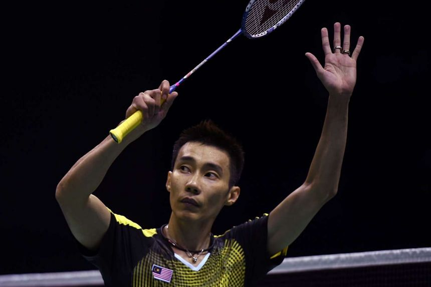 Lee Chong Wei celebrates his victory against Viktor Axelsen during their men's singles semi-finals match in the Thomas Cup badminton tournament, on May 20, 2016.