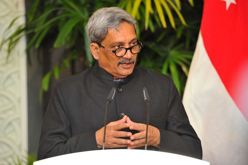 Indian defence minister Manohar Parrikar speaking at the first-ever ministerial level dialogue with Singapore counterpart Ng Eng Hen at the Shangri-La Hotel on June 3, 2016.