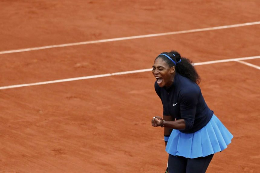 Serena Williams reacts at the French Open women's singles semi-final match on June 3, 2016.