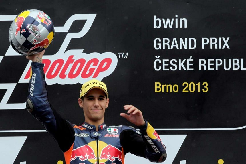 Salom celebrates winning in the class race during the Czech Grand Prix in Brno, Aug 25, 2013.