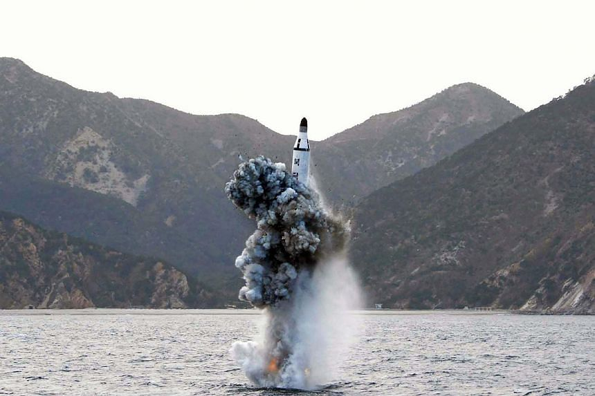 An underwater test-fire of a strategic submarine ballistic missile at an undisclosed location in North Korea on April 23, 2016.