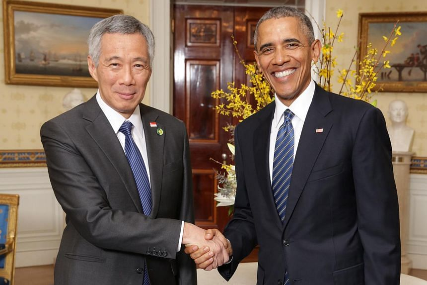 US President Barack Obama (right) meeting Singapore Prime Minister Lee Hsien Loong at the White House on March 31.