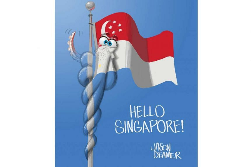 Here is Hank, a new character in the Pixar animated film Finding Dory, saying 'hello' to Singapore fans in promotional artwork released by Disney yesterday. Hank is an octopus with camouflaging abilities in the sequel to Finding Nemo (2003), which op