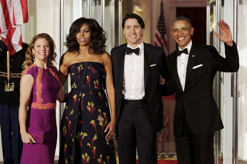 Barack and Michelle Obama welcome Canadian Prime Minister Justin Trudeau and his wife Sophie to a state dinner at the White House, March 10, 2016.