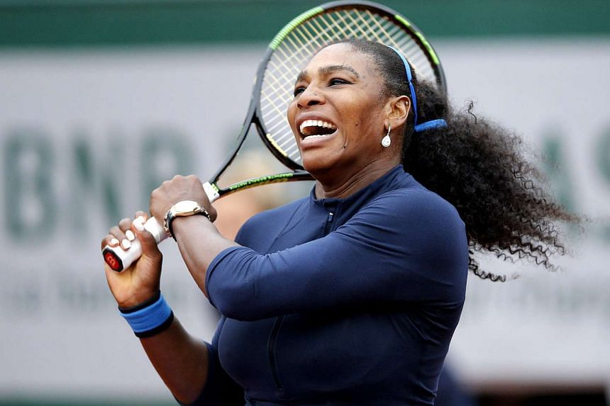 Serena Williams in action against Yulia Putintseva during their women's single quarter final match at the French Open in Paris, France, on June 2.