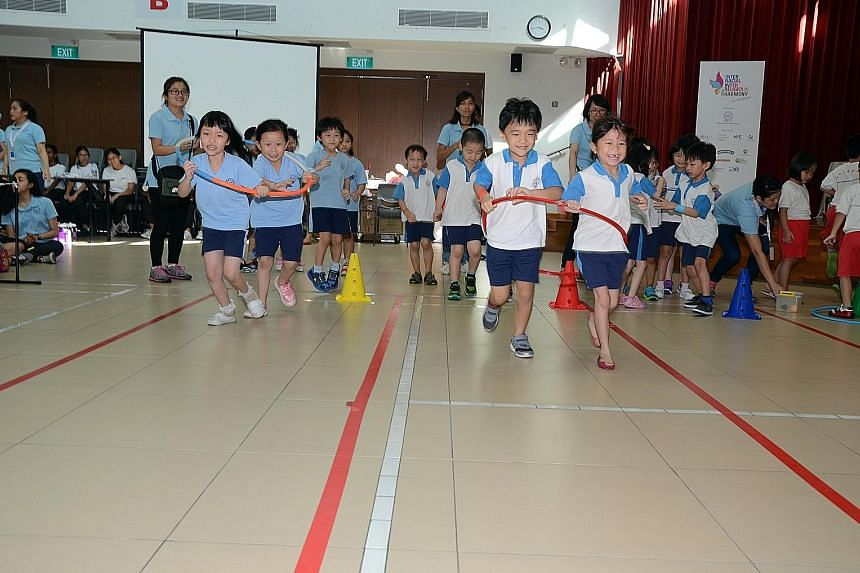 The children taking part in the Thye Hua Kwan Moral Society's sports day event learnt about racial and religious harmony as well as playing physical sports.