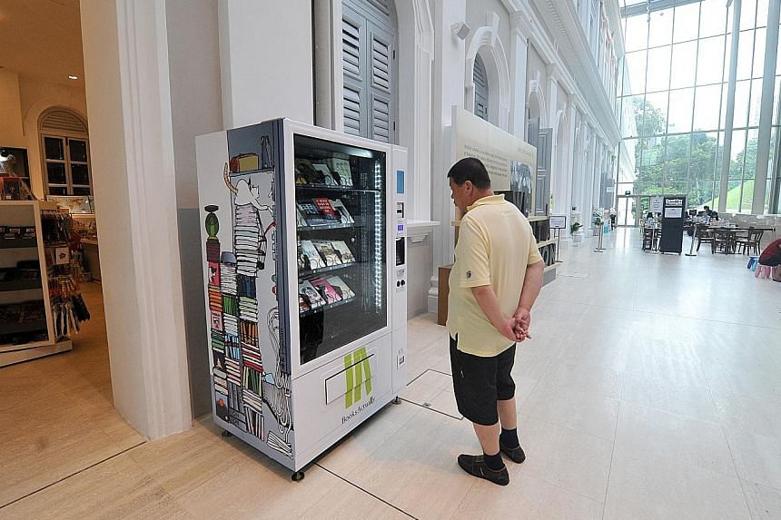 A book vending machine featuring local literature at the National Museum of Singapore, one of two unveiled by bookstore BooksActually yesterday. The other machine is at the Singapore Visitor Centre in Orchard Road, and a third will be installed at Go
