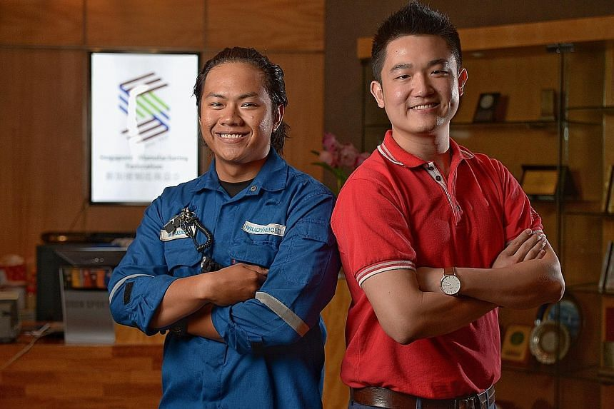 Mr Muhammad and Mr Saw both won Gold Workplace Safety and Health awards from the Singapore Manufacturing Federation. Both men emphasise to their workers that it's not worth it to risk safety for increased productivity.
