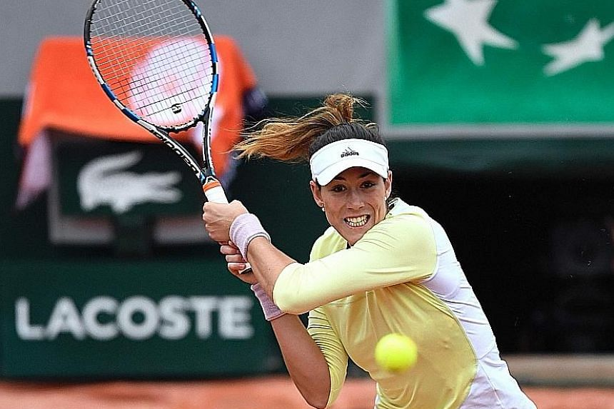 Spain's Garbine Muguruza ripping a backhand against Samantha Stosur in the French Open semi-finals. She hit 20 winners to the Australian's 12.