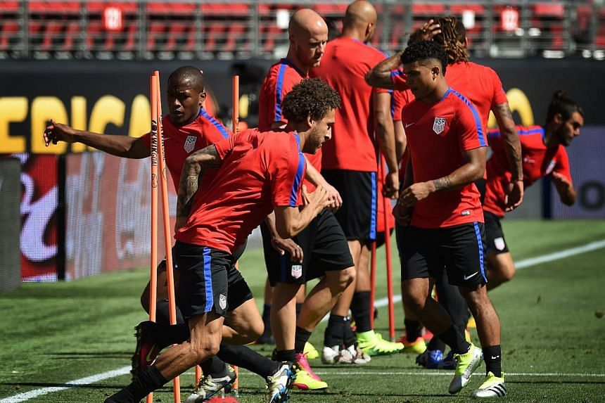 The US football team training on Thursday ahead of their Copa America opener against Colombia at the Levi's Stadium in Santa Clara. The US are in a tough Group A with Colombia, Costa Rica and Paraguay.