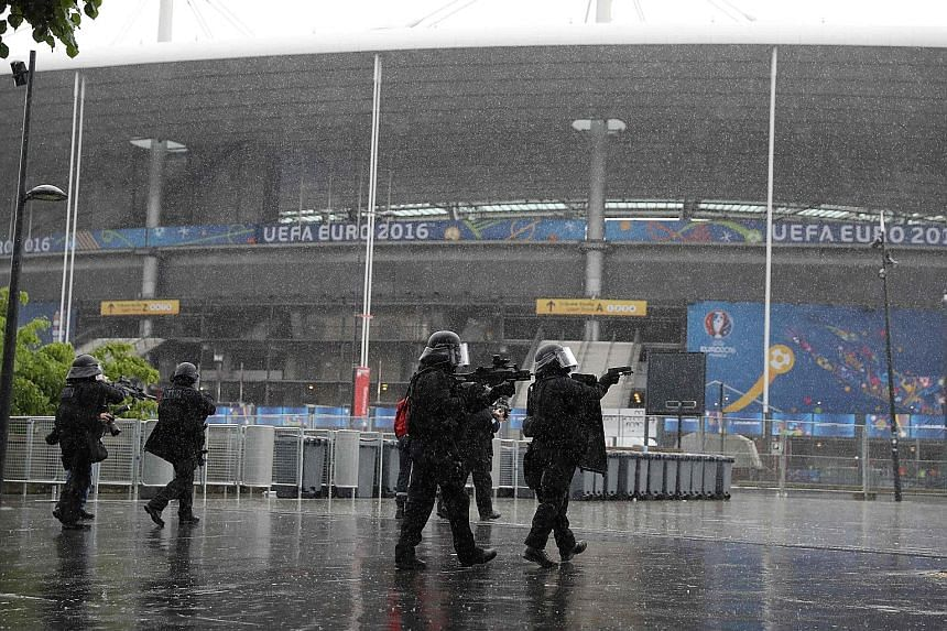 The French police's Raid unit carrying out an anti-terror drill ahead of the upcoming Euro 2016. France will deploy nearly 90,000 security personnel during the month-long soccer competition.
