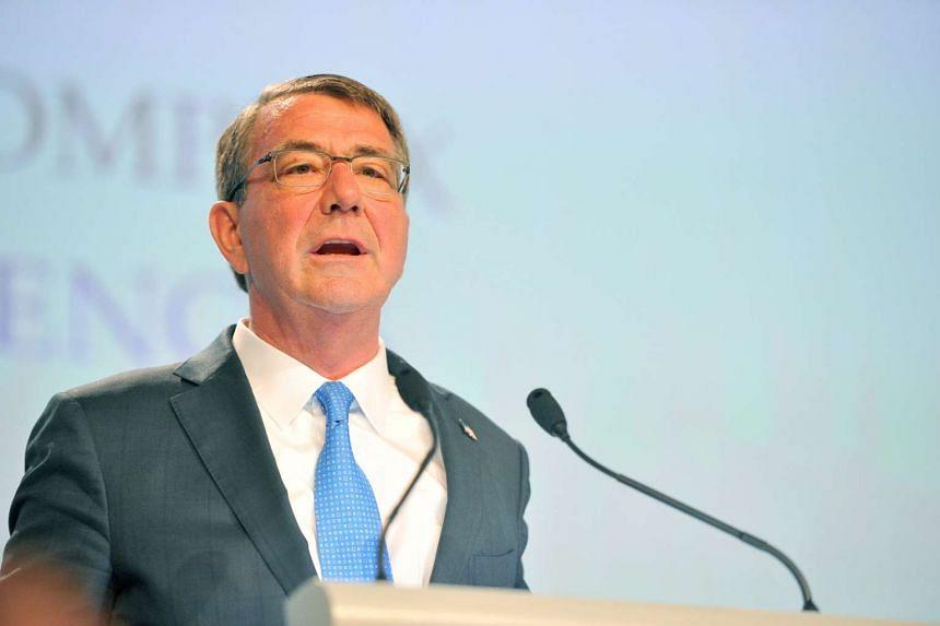 US Defence Secretary Ashton Carter speaking at the Shangri-La Dialogue in Singapore on Saturday (June 4).