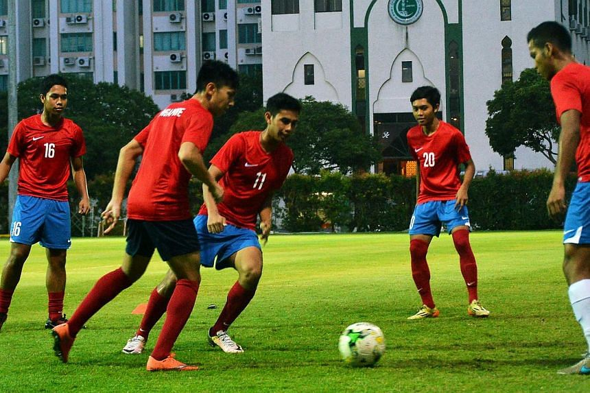 Singapore's Under-21 team training for their Nations Cup match against Malaysia.