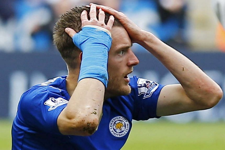 Leicester's Jamie Vardy reacts to being shown a red card in April 2016.
