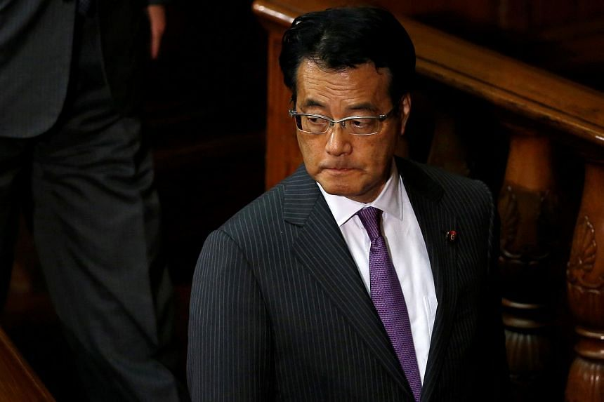Japanese opposition leader Katsuya Okada attending a Parliament session for a no-confidence motion against Prime Minister Shinzo Abe's cabinet on May 31.