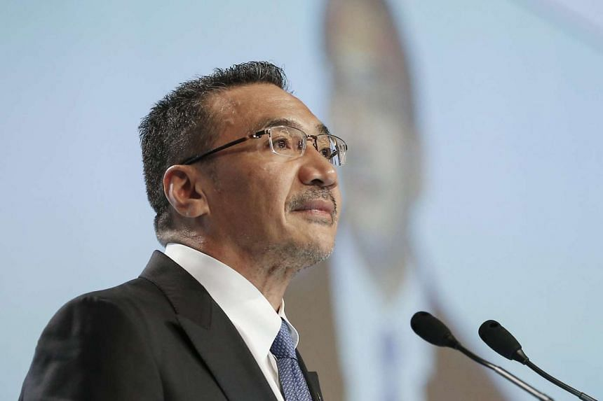 """Malaysian defence minister Hishammuddin Tun Hussein speaking at a plenary session on """"Managing Military Competition in Asia"""" at the 15th Shangri-La Dialogue at Shangri-La Hotel, Singapore, on June 4, 2016."""