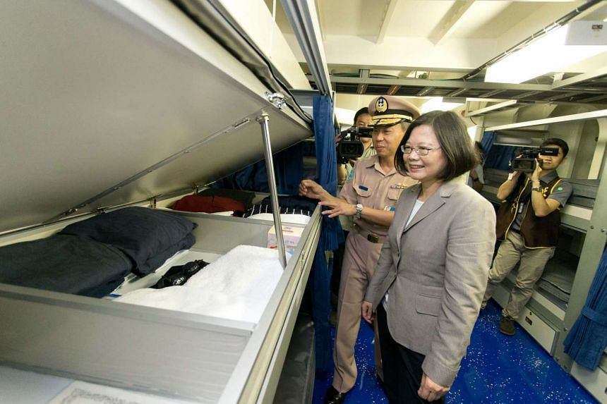 Taiwan's President Tsai Ing-wen (right) during her visit on board the Tuo River class corvette at Su'ao Naval Base in Yilan County, on June 4, 2016.