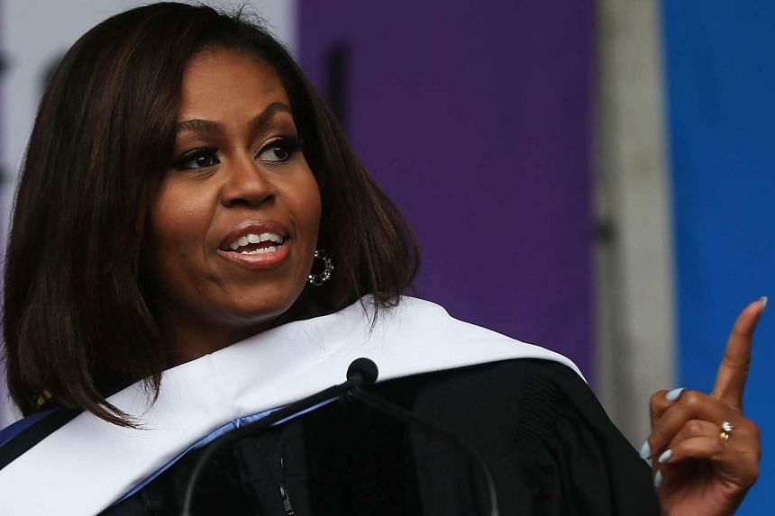 Michelle Obama delivers her commencement speech at City College on June 3, 2016 in New York City.