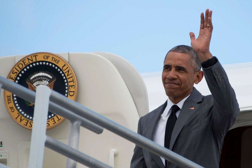 US President Barack Obama boarding Air Force One at Joint Base Andrews, Maryland, on June 3.
