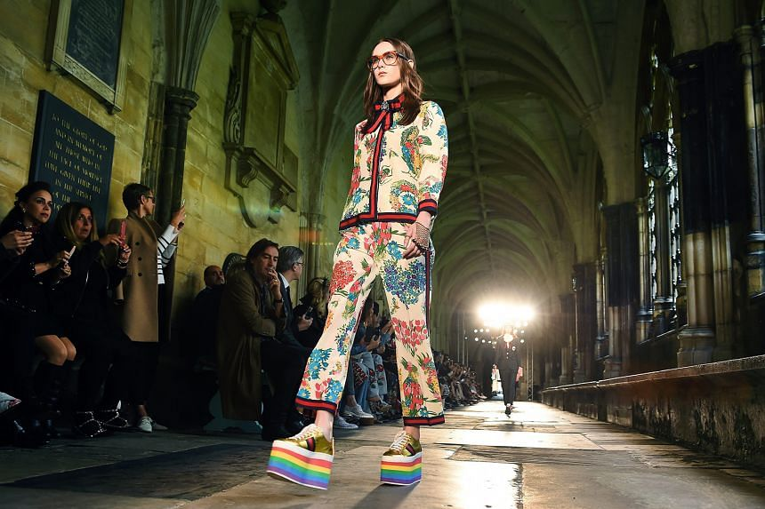 A model in a Gucci creation at the fashion show.
