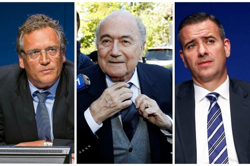 (From left)  Jerome Valcke, Sepp Blatter and Markus Kattner
