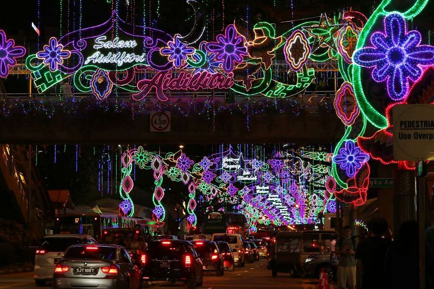 Colourful decorations light up the streets, at the Hari Raya Light Up and Bazaar, on June 4, 2016.