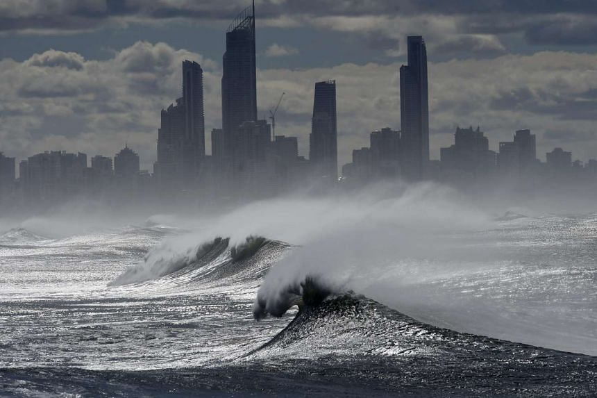 Large waves break at Burleigh Heads on the Gold Coast,, Queensland, Australia on June 5, 2016.