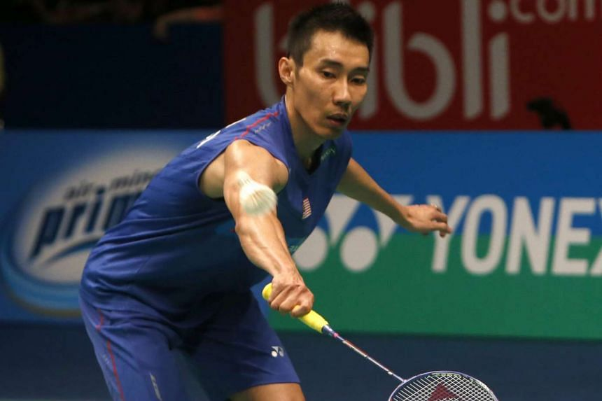 Lee Chong Wei of Malaysia in action against Jan Jorgensen of Denmark during their Men's single final match at the BCA Indonesia Open Badminton, in Jakarta on June 5, 2016.