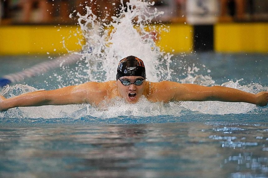 Joseph Schooling, pictured at the Atlanta Classic Swim Meet last month, won the 100m butterfly at the Longhorns Elite Invite meet on Friday in a time of 51.58sec, just .07 sec ahead of Michael Phelps.
