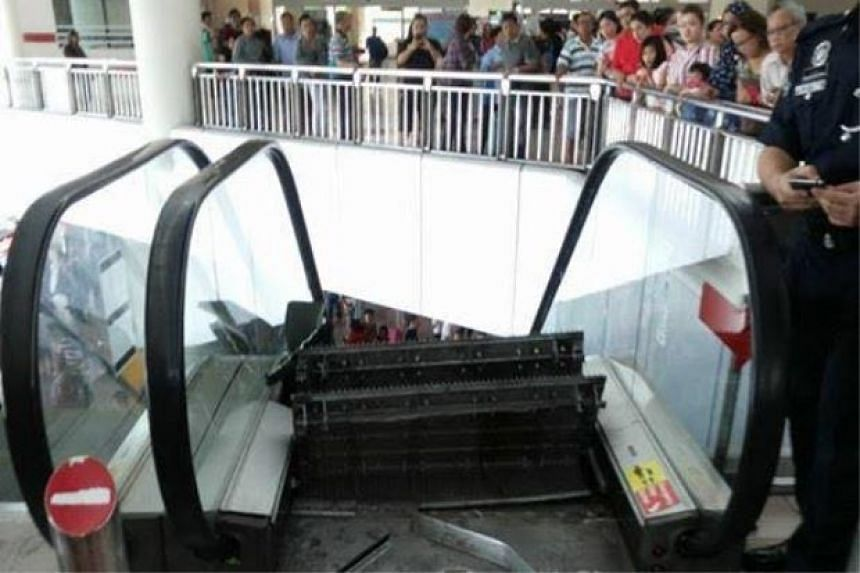 An escalator at the Miri Airport in Sarawak suffered serious damage after suddenly breaking apart on Sunday (June 5).