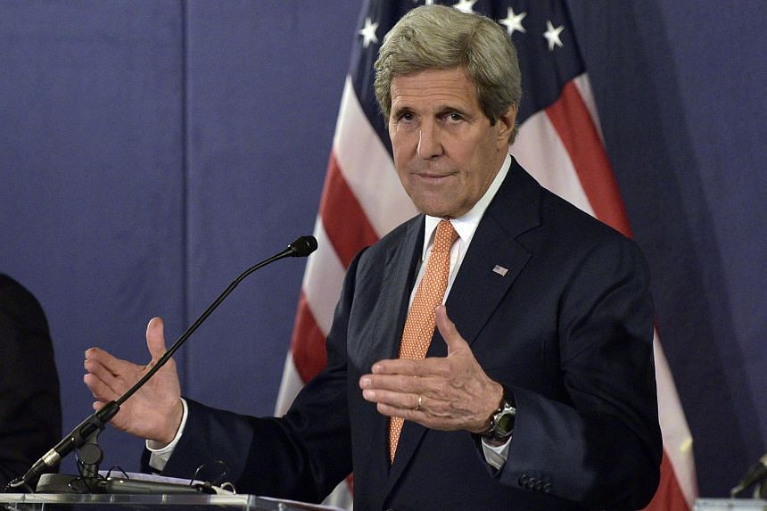 US Secretary of State John Kerry addressing a press conference on May 16 in Vienna, Austria.