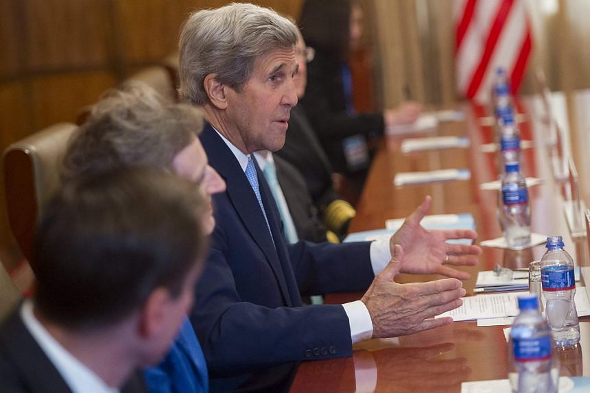 US Secretary of State John Kerry speaking during a meeting with Mongolian Foreign Minister Lundeg Purevsuren at the Ministry of Foreign Affairs in Ulaanbaatar, Mongolia on June 5.